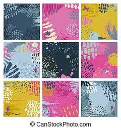 set, astratto, sfondi, mano, nove, inchiostro, disegnato, texture.