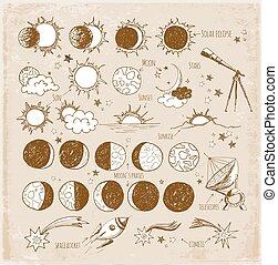 set, astronomia, sketches.