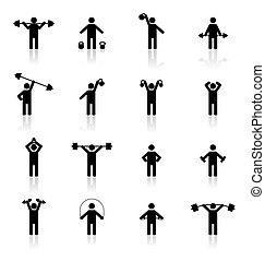 Set athlete silhouettes, vector