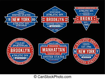 Set athletic New York, Brooklyn for t-shirt print