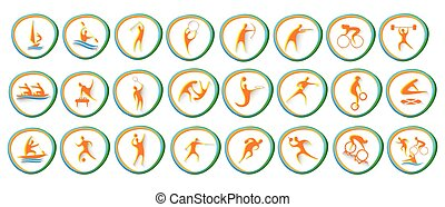 set, atleet, competitie, verzameling, sportende, pictogram