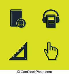 Set Audio book, Pixel hand cursor, Triangular ruler and  icon. Vector