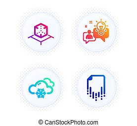 set., augmented, signe., icônes, solution., réalité virtuelle, flocon de neige, temps, récupération, réalité, vecteur, neige, idée, fichier