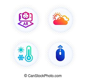 set., augmented, signe., icônes, swipe, réalité, haut, thermomètre, temps, vecteur, ensoleillé