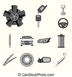set, auto, symbool, voorwerp, web., vrijstaand, deel, auto,...