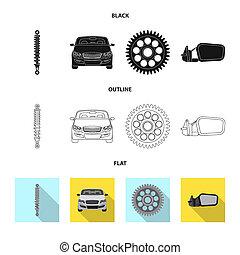 set, auto, symbool, voorwerp, web., vrijstaand, symbool.,...