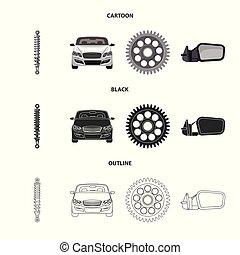 set, auto, symbool, web., symbool., illustratie, vector,...