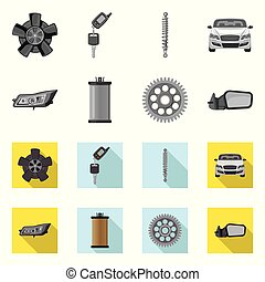 set, auto, symbool, web., symbool., vector, ontwerp, auto...