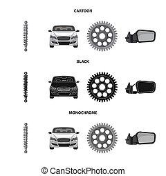 set, auto, teken., web., illustratie, bitmap, deel, auto,...