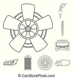set, auto, teken., web., vector, ontwerp, auto onderdeel,...