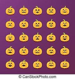 set., autocollants, différent, halloween, émotions, vecteur...
