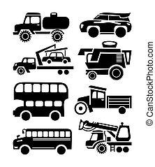 set, automobile, vettore, nero, icona, trasporto