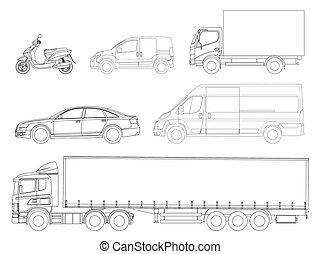 set, automobili, outline., logistica, transport., vista...