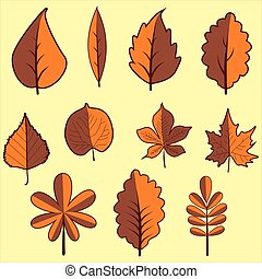 Set autumn leaves in yellow background. Clip art