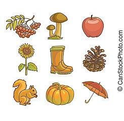 set, autunno, oggetti, cadere, icona, o, design.