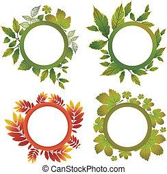 set, -, autunno, vettore, mette foglie, cornici