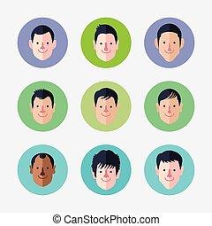 set, avatar, icone