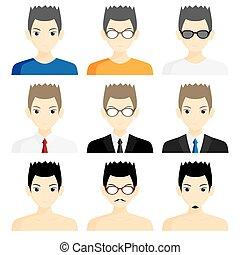 set avatar man cartoon picture profile business