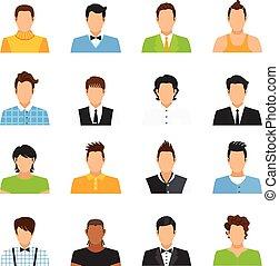 set, avatar, uomo, icone