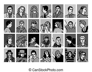 Set avatars black and white people icons.