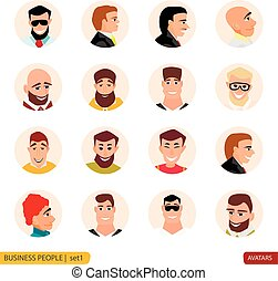 Set avatars businessmen in face