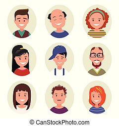 set avatars happy smiling people