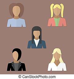 Set avatars of women in flat style