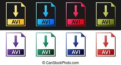 Set AVI file document icon. Download AVI button icon ...