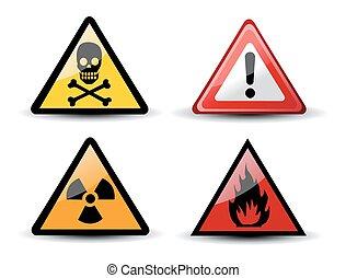 set, avvertimento, triangolare, azzardo, segni