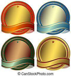 Set awards with ribbons on white background (vector)