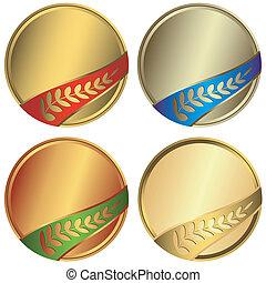 Set awards with ribbons