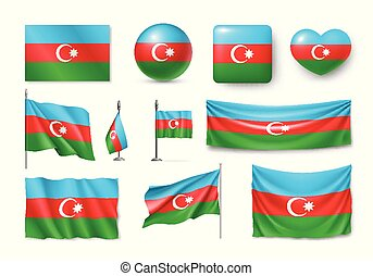Set Azerbaijan flags, banners, banners, symbols, flat icon