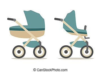 Set baby carriage. Color flat vector illustration isolated on white