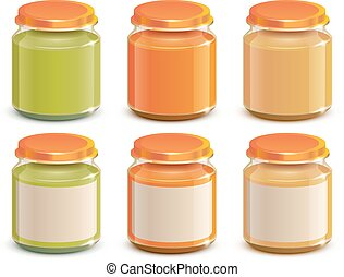Set Baby food puree jar template mockup design. Isolated on...