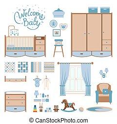Set baby room elements. Nursery and playroom interior....