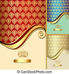 set background  with gold(en) pattern and crown