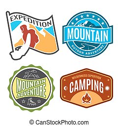 Set badges mountain expeditions and logo emblem adventure outdoors