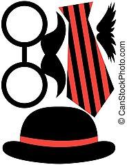 set, baffi, -, occhiali, accessori, cappello festa