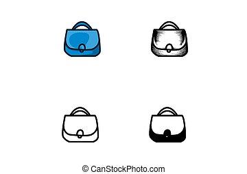 Set Bag icon isolated on white background, vector illustration