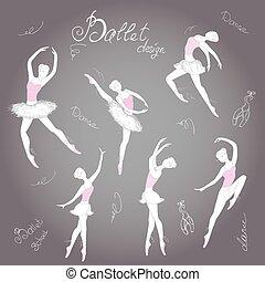 Set ballet dancers, hand drawn background, vector illustration.