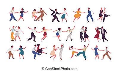 set, ballo, ballerini, femmina, festa., lindy, ballo, isolato, fondo., luppolo, bianco, uomini, paia, fascio, caratteri, cartone animato, donne, scuola, illustration., compiendo, vettore, maschio, o, swing.