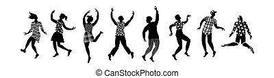 set, ballo, persone., giovane