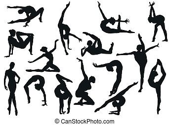 set, ballo, ragazza, balletto, silhouette