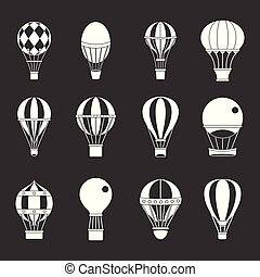 set, ballon, grijze , lucht, vector, pictogram