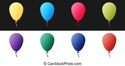 Set Balloon with ribbon icon isolated on black and white background. Vector