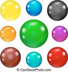 set, baluginante, colorato, palle, lucido