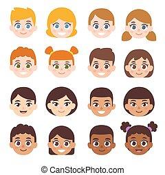 set, bambini, cartone animato, avatar