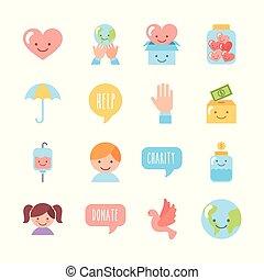 set, bambini, icona, donare