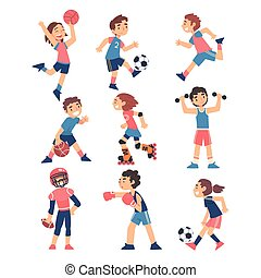 set, bambini, sano, illustrazione, pattinaggio, gioco, sport...