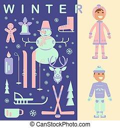 set, bambini, vestiti inverno